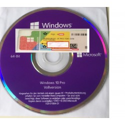 Microsoft Windows 10 Professional 64 Bit, Vollversion, COA+DVD, Deutsch